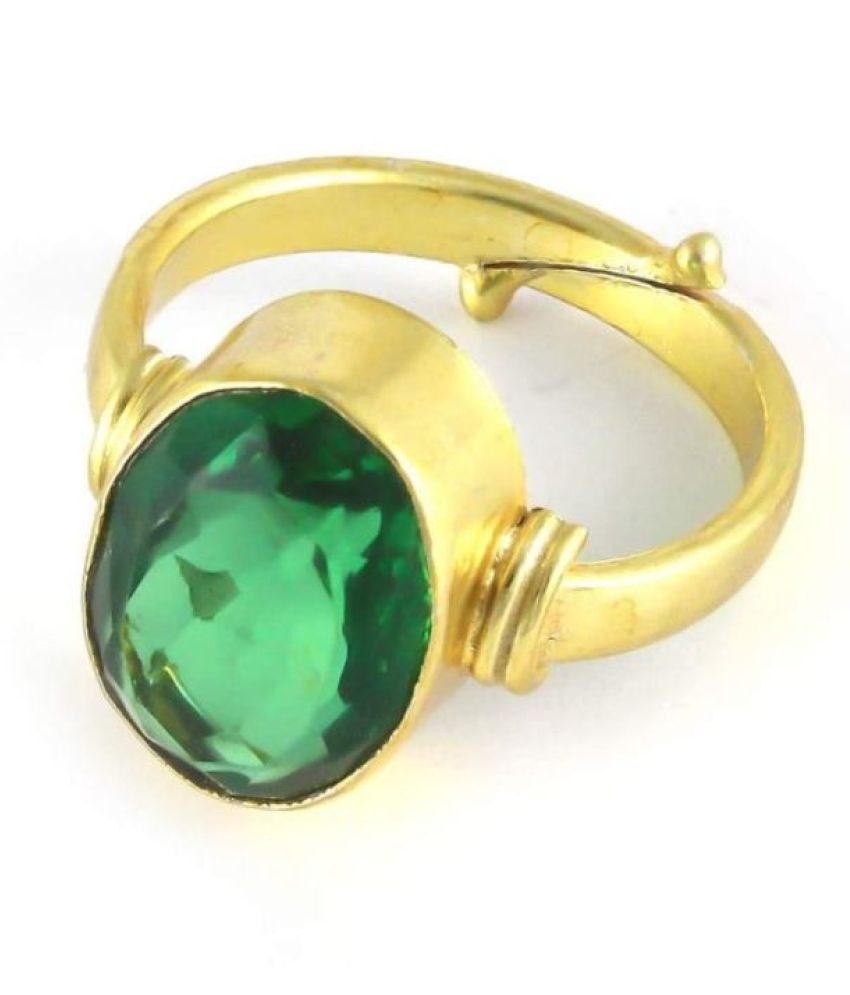 7.25 Carat Green Emerald Gold Plated Unique Ring Original Natural Certified Oval Cut Panna Gemstone Antique Ring May Birthstone Zambian Columbia Gold Plated Adjustable Ring Size 16-24