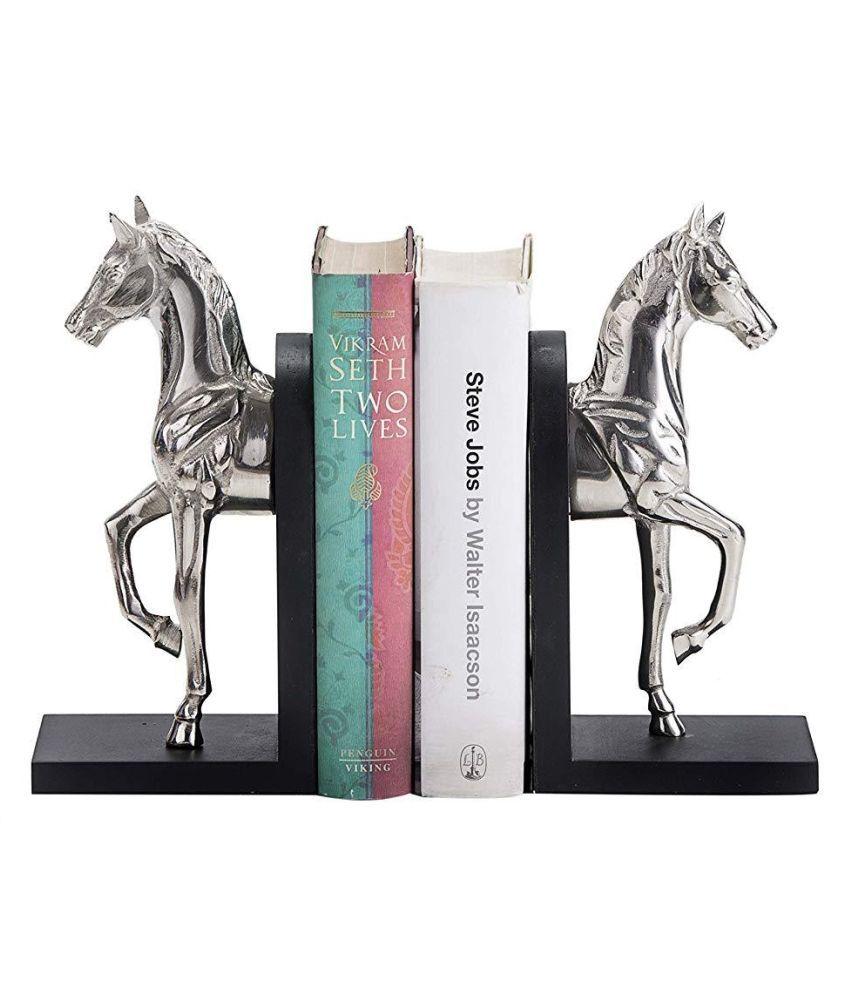 Designer International Aluminium Nickel Finish Horse Bookend Home and Office/Decorative Item