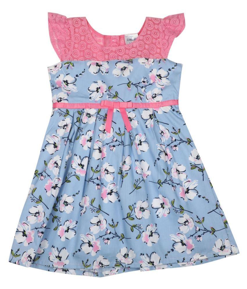 Doodle Blue Cotton Floral Printed Dress