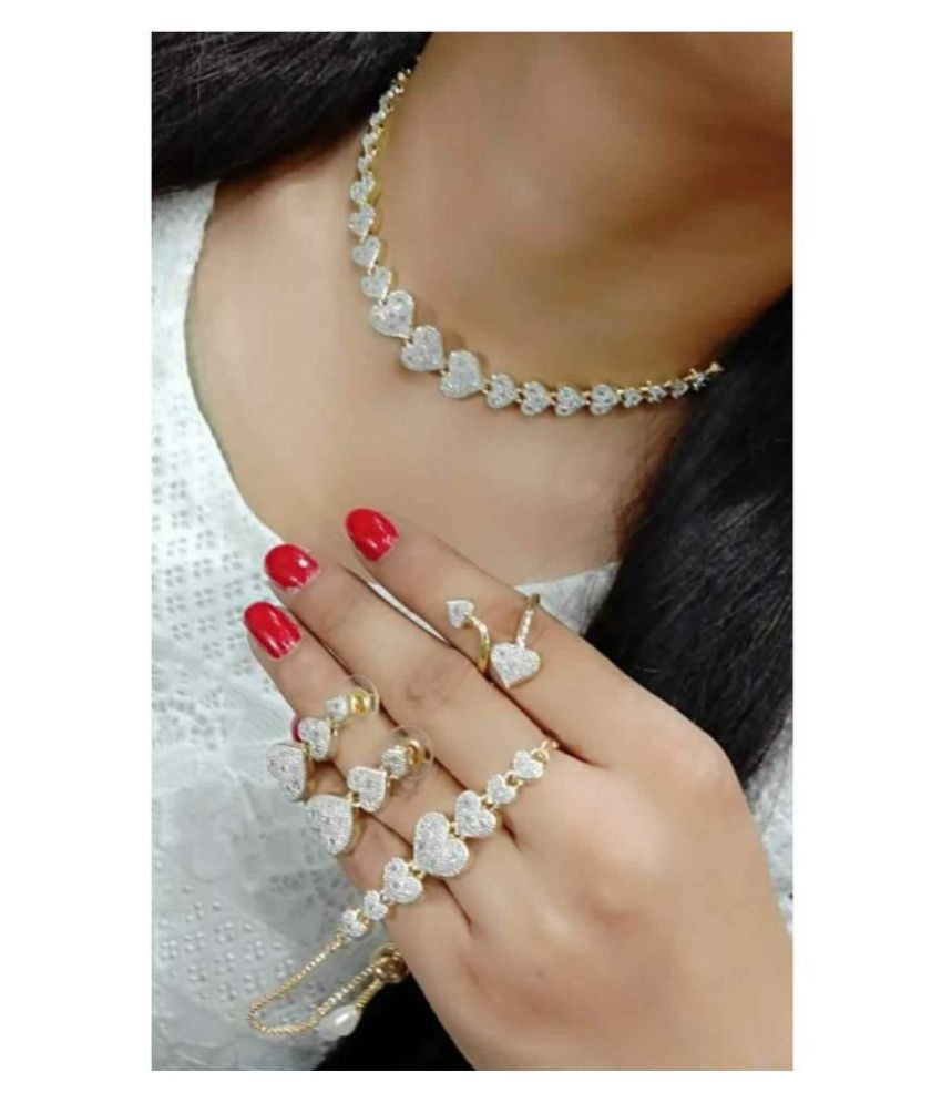 Navya Collections Alloy Golden Choker Contemporary/Fashion Gold Plated Necklace set Combo
