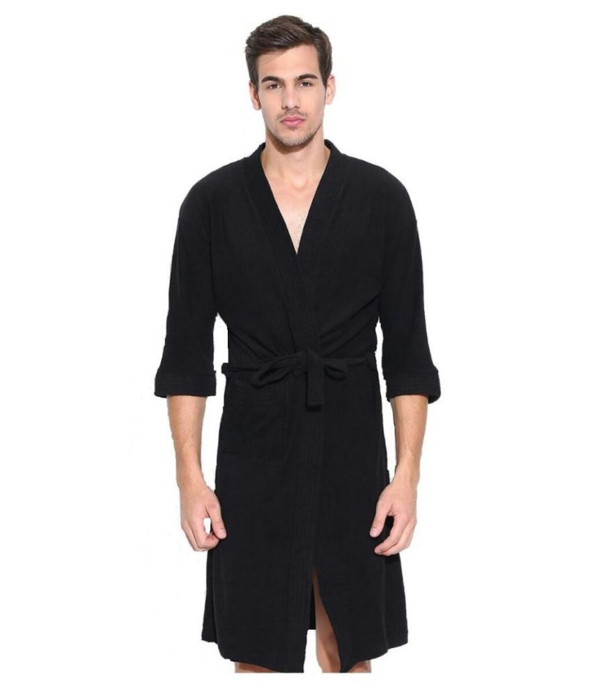 superior Single Free Size Bathrobe Black