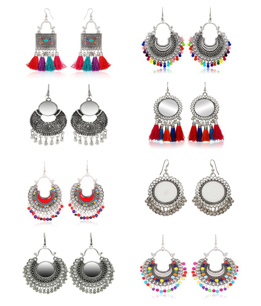 High Quality Combo of 8 Oxidized Silver Tribal Collection, Designer Traditional Stylish earring for girls and women Long Earrings for Women and Girls Jhumki Earring Alloy Drops & Danglers, Earring Set, Chandbali Earring, Jhumki Earring for girls and women