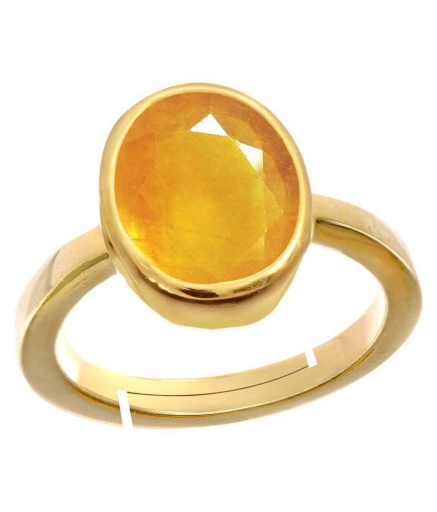 A1 Gems 7.25 Ratti 6.42 Carat A+ Quality Yellow Sapphire Pukhraj Gemstone Ring For Men and Women's