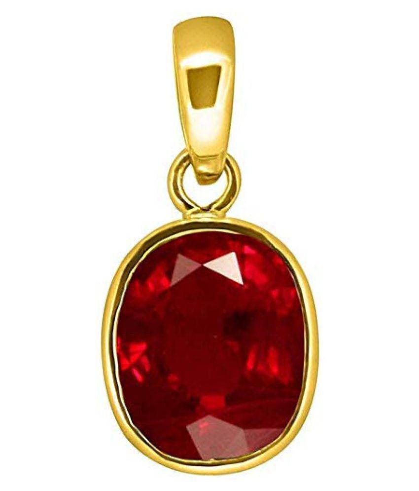 A1 Gems 7.25 Ratti 6.42 Carat A+ Quality Burma Ruby Manik Gemstone Pendant For Women's and Men's