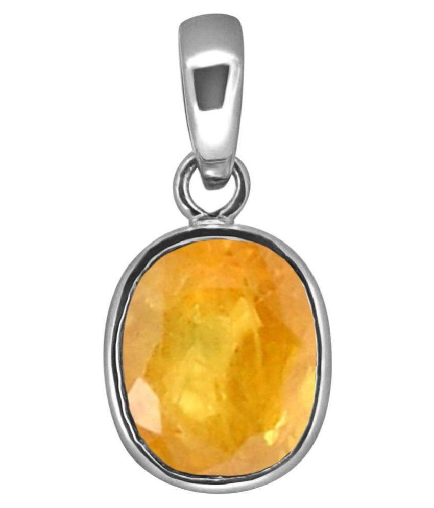A1 Gems 7.25 Ratti 6.42 Carat A+ Quality Yellow Sapphire Pukhraj Gemstone Pendant For Men and Women's