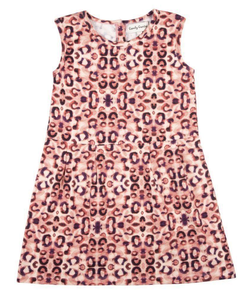 Candy Cumins Girls Casual Animal Print Sleeveless Cotton Dress-Grape