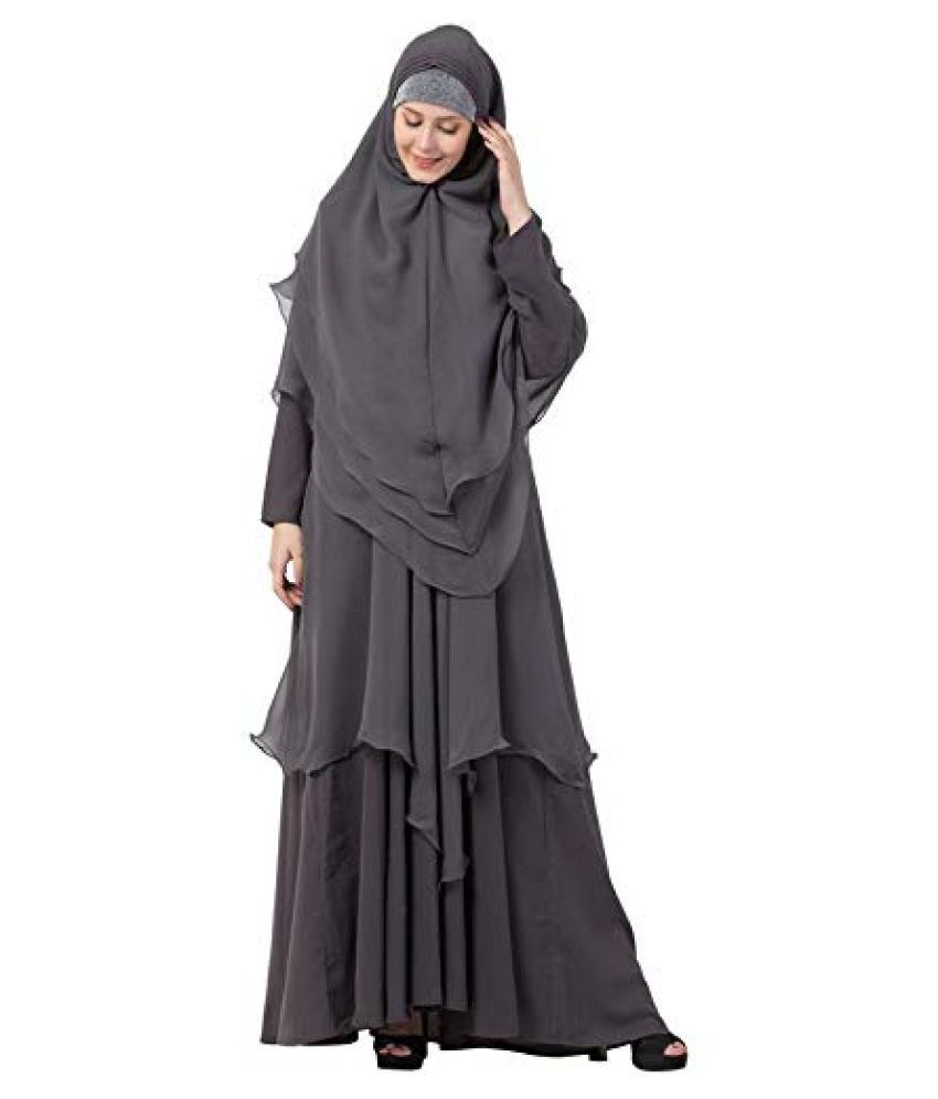 Mahila Hub Grey Crepe Stitched Burqas without Hijab