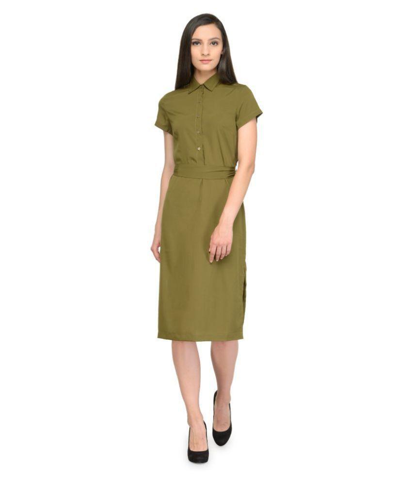 TUNIC NATION Crepe Green Regular Dress