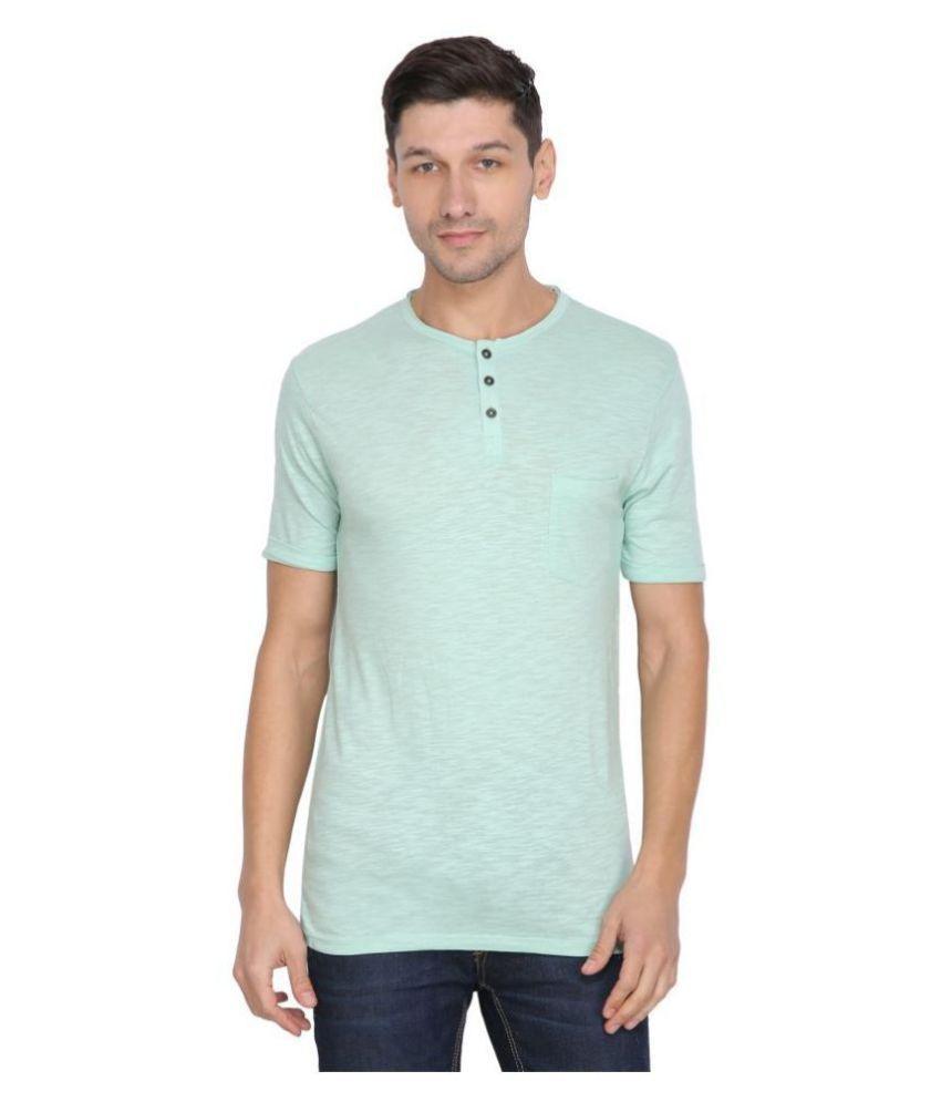 JUST CHARM 100 Percent Cotton Turquoise Self Design T-Shirt