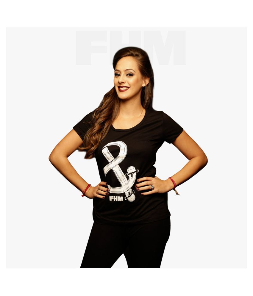 FHM Cotton Black T-Shirts