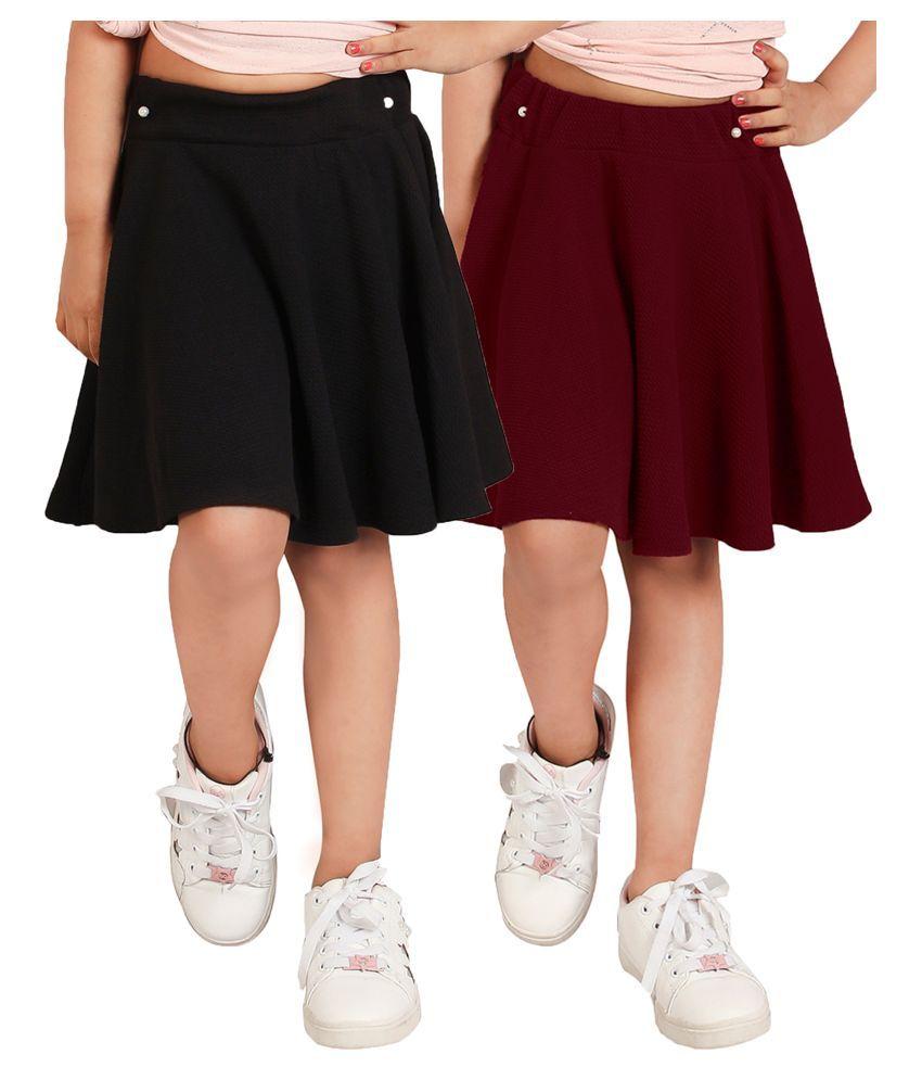 Addyvero Red & Black Solid Girls Flared Skirt pack of 2