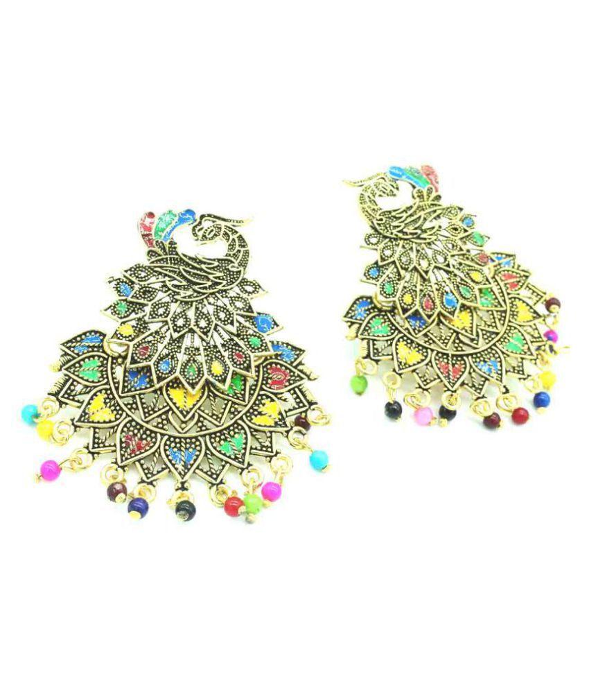 Gold Plated Trendy peacock jhumki earring