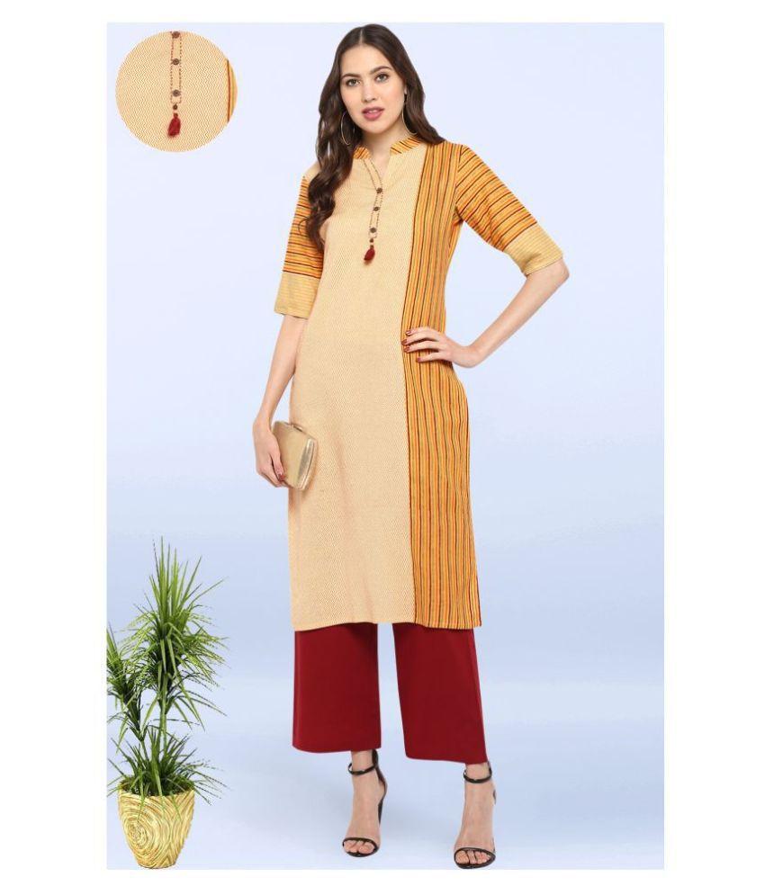 Janasya Cotton Kurti With Palazzo - Stitched Suit