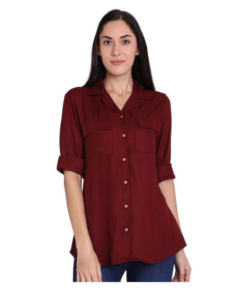 Recap Maroon Cotton Shirt