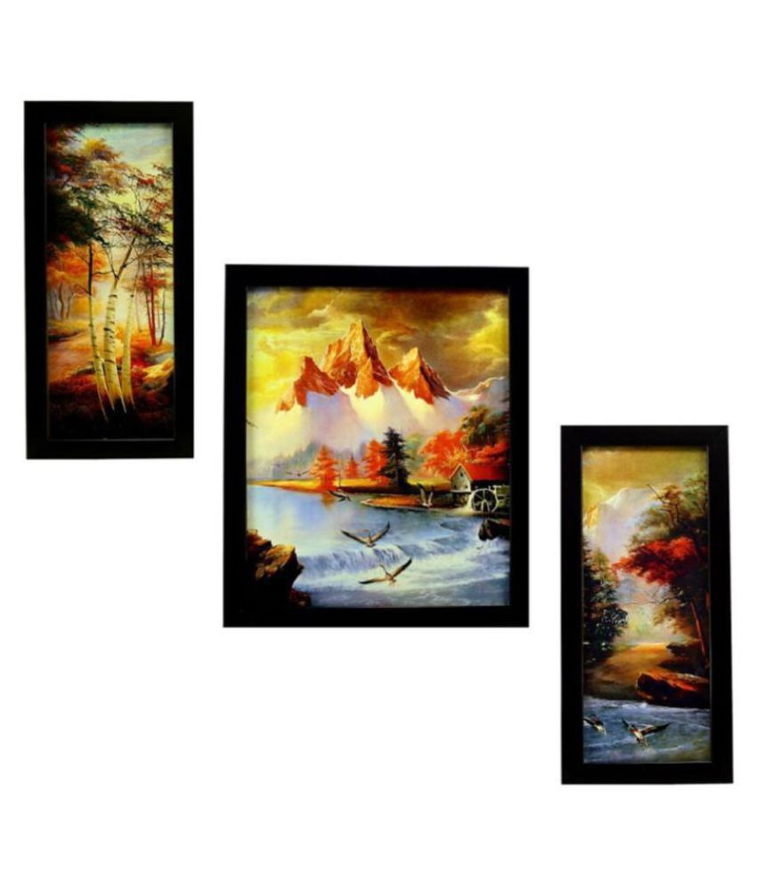 Indianara landscape Synthetic Painting With Frame