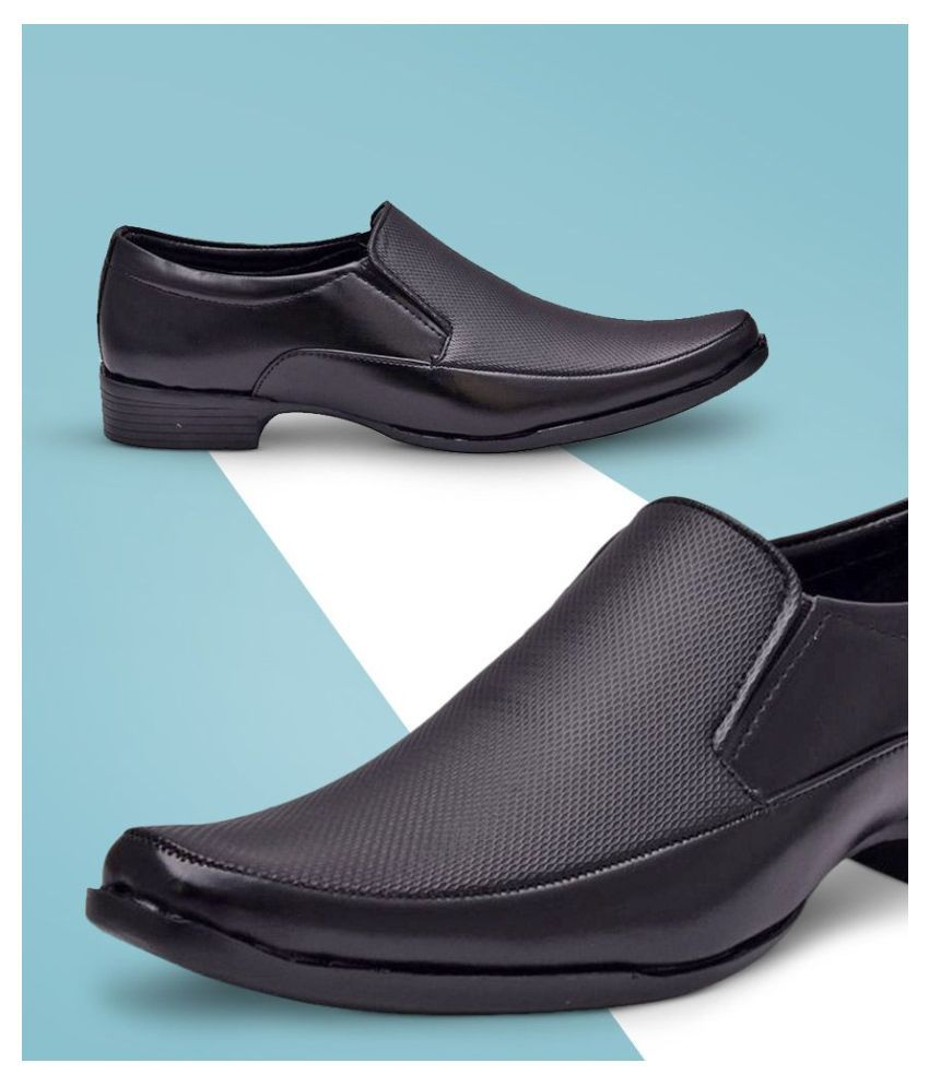 Sir Corbett Slip On Artificial Leather Black Formal Shoes