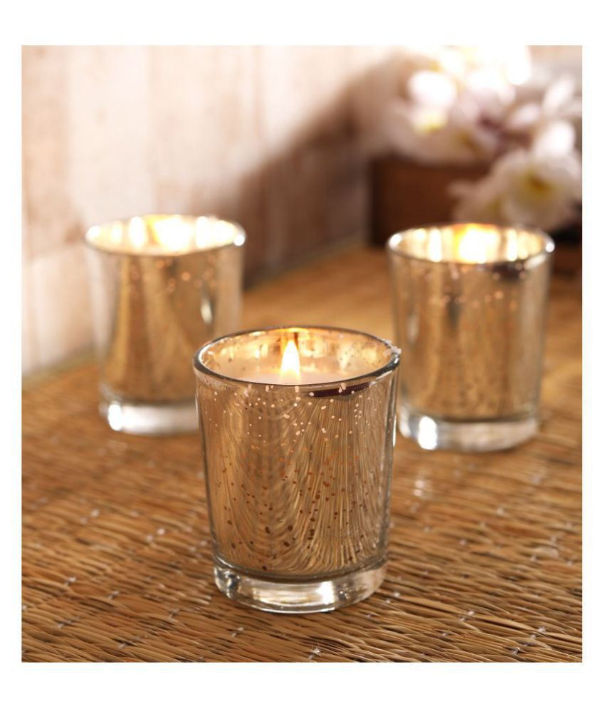 Hosley Silver Jar Candle - Pack of 3