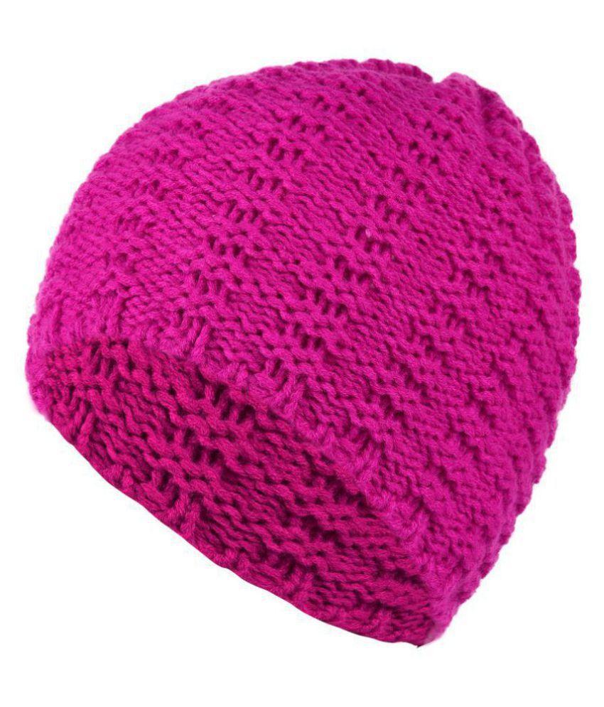 DRUNKEN Women's Winter Cap Beanie skull Woollen Cap Pink