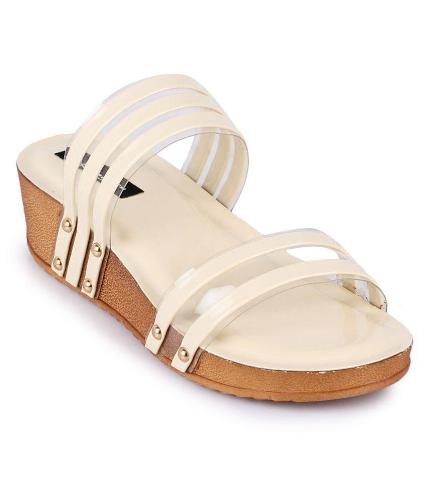 Funku Fashion Beige Wedges Heels