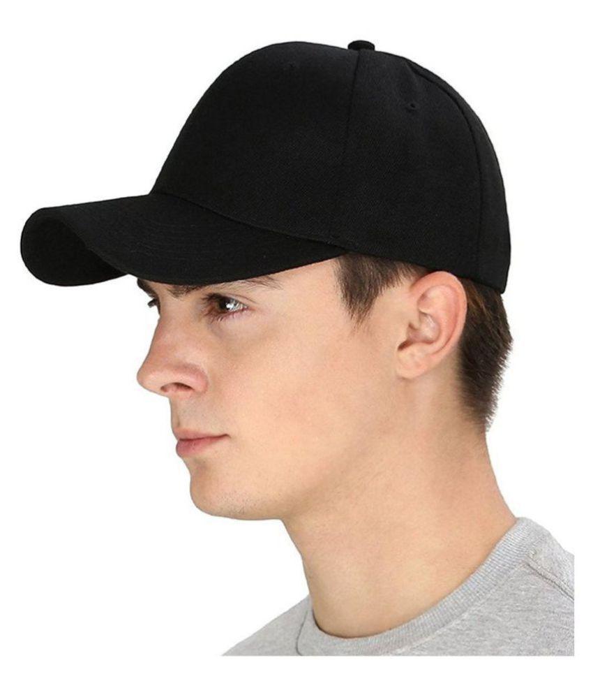 Men's Acrylic Plain Velcro Baseball Cap For Hunting, Fishing, Outdoor Activities Black Freesize