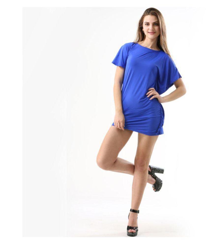 Fascinating Lingerie Cotton Lycra Blue Shirt Dress