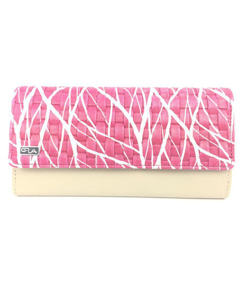 Goodwill Leather Art Pink Faux Leather Box Clutch
