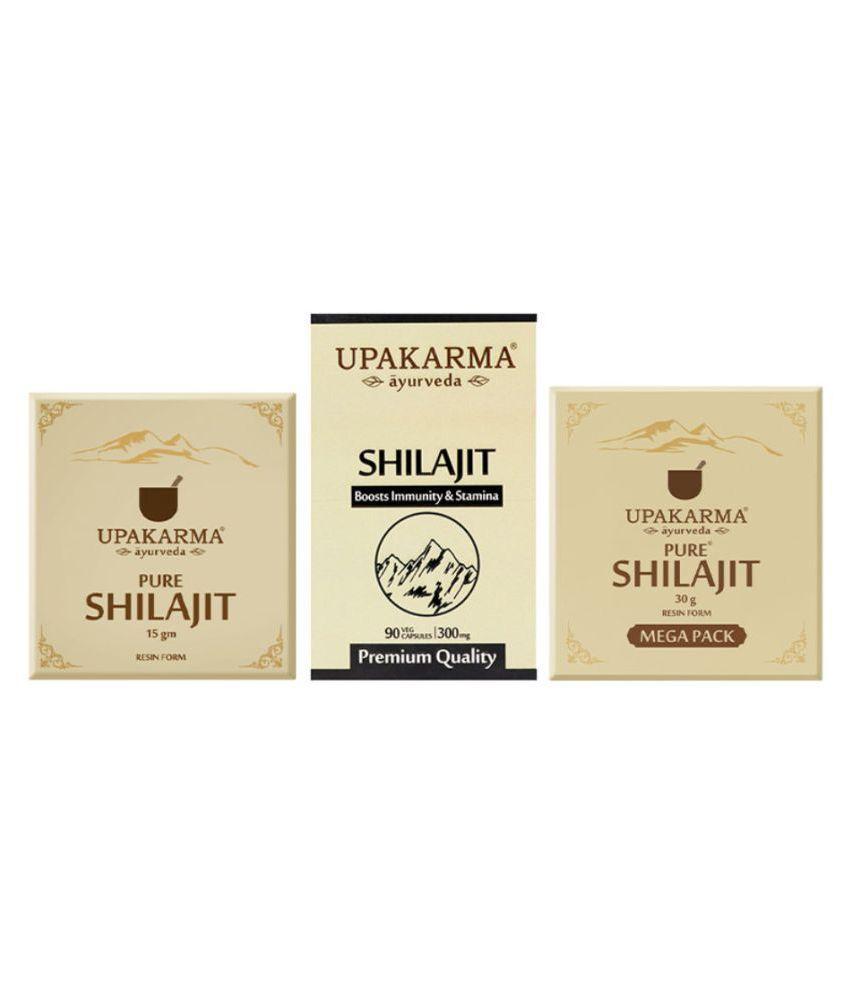 UPAKARMAAYURVEDA SHILAJIT-15G-SHILAJIT-90-SHILAJIT-30G 3 no.s Natural Multivitamins Capsule Pack of 3
