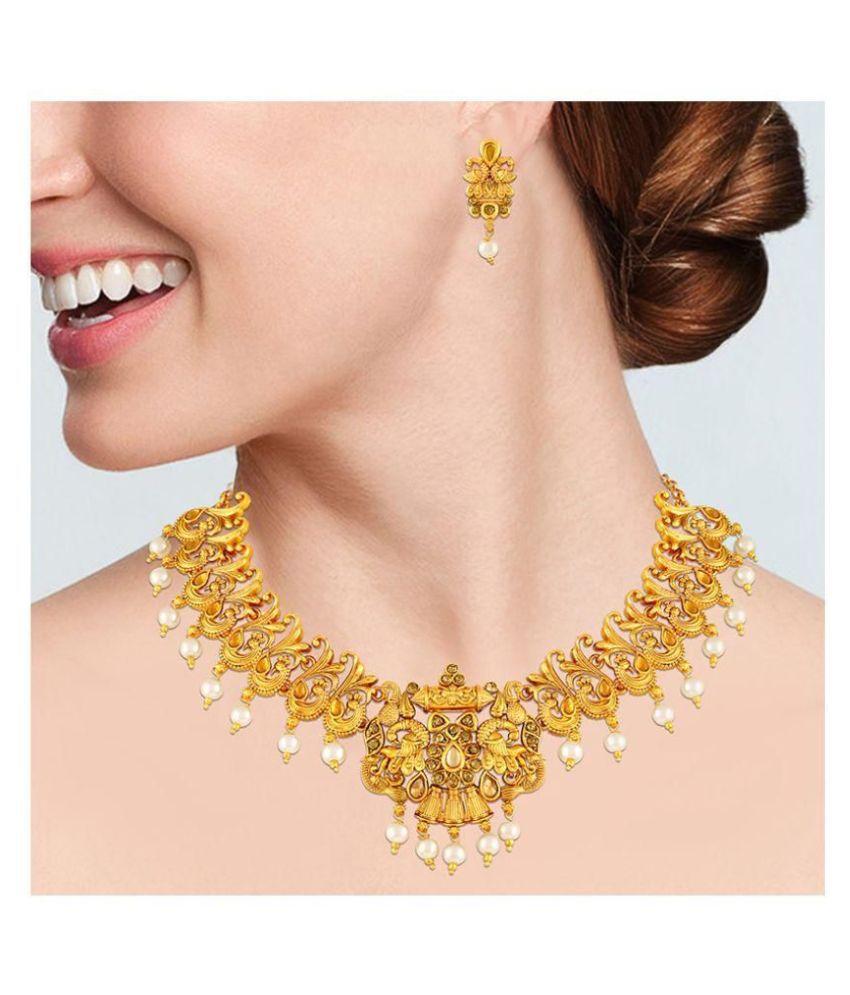 Asmitta Jewellery Zinc Golden Choker Traditional Gold Plated Necklaces Set