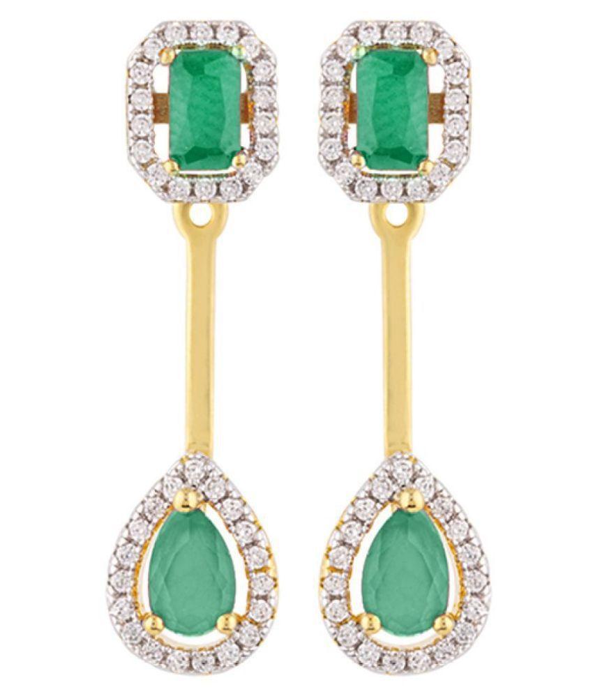Voylla CZ Green Gems Adorned Earrings