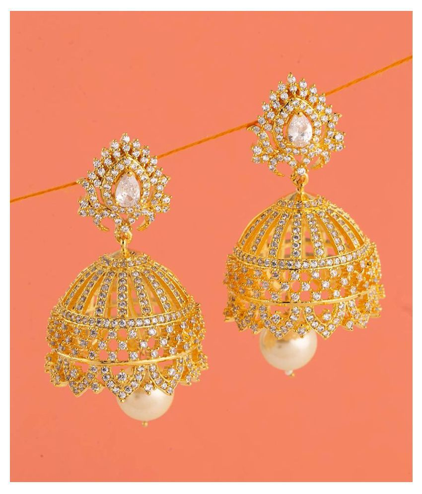 Voylla Faux Pearls and Gems Jhumka Earrings