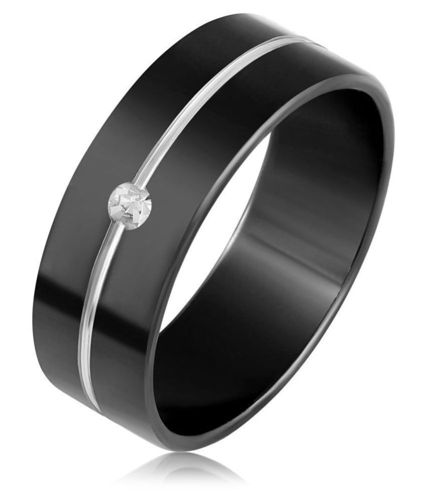 Asmitta Glossy Stainless Steel Rhodium Plated White Stone Finger Ring For Men