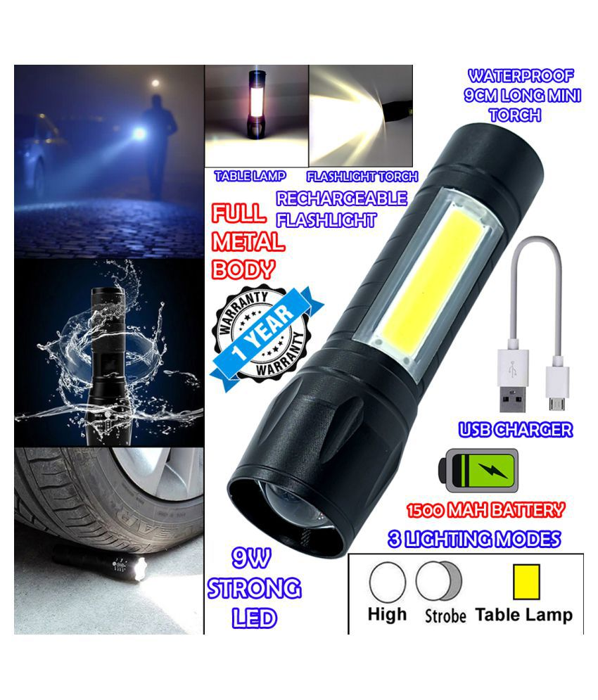 DGM 2in1 Waterproof Rechargeable Zoomable LED 3 Mode COB Table Lamp Metal 9W Flashlight Torch Home / Outdoor Lamp - Pack of 1