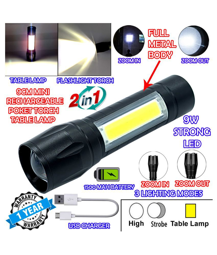 GLOBAL 2in1 3 Mode Waterproof Rechargeable LED Zoomable Metal Body COB 9W Flashlight Torch Emergency Table Lamp - Pack of 1