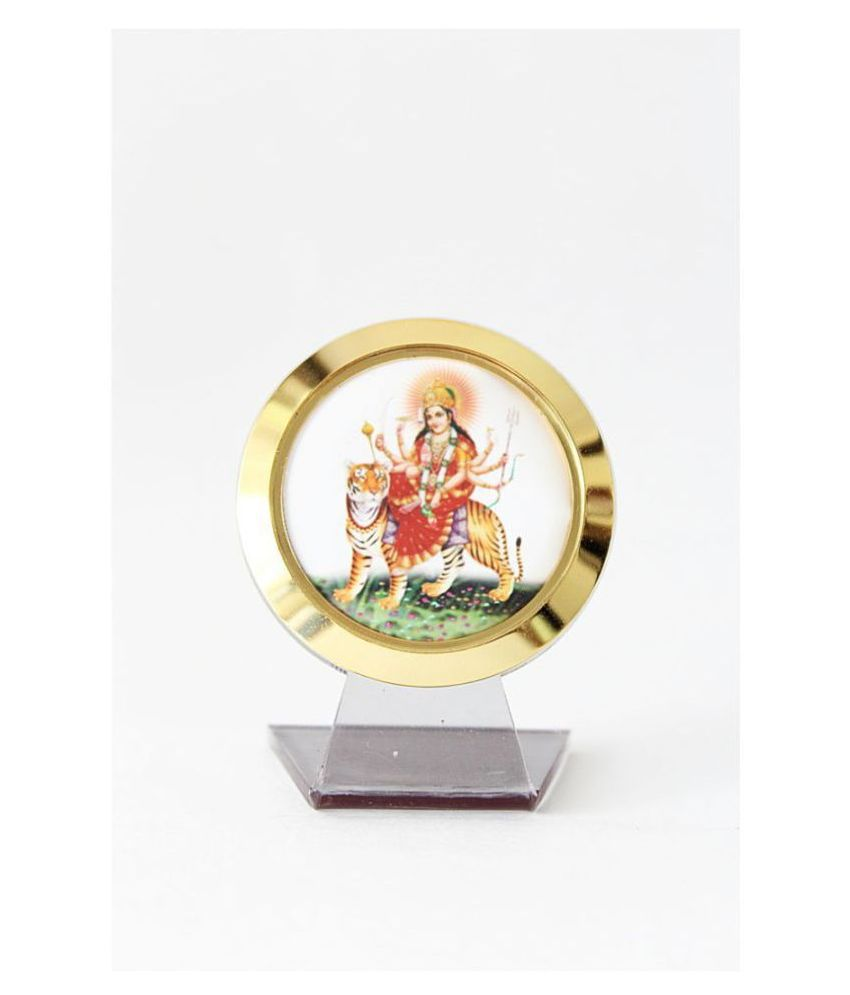 Laps of Luxury ® Durga MATA Temple for Car 3 x 2 Inches Golden Color Shining Frame