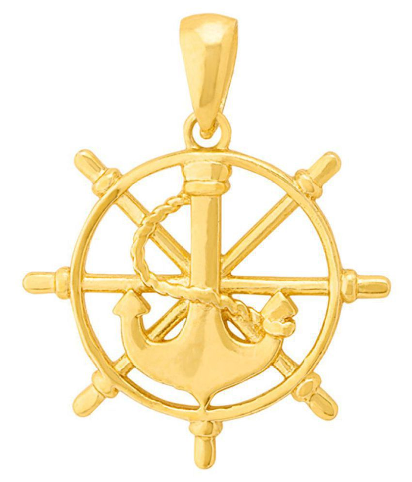 Dare by Voylla Gold Plated Compass and Anchor Pendant From Nautical Collection