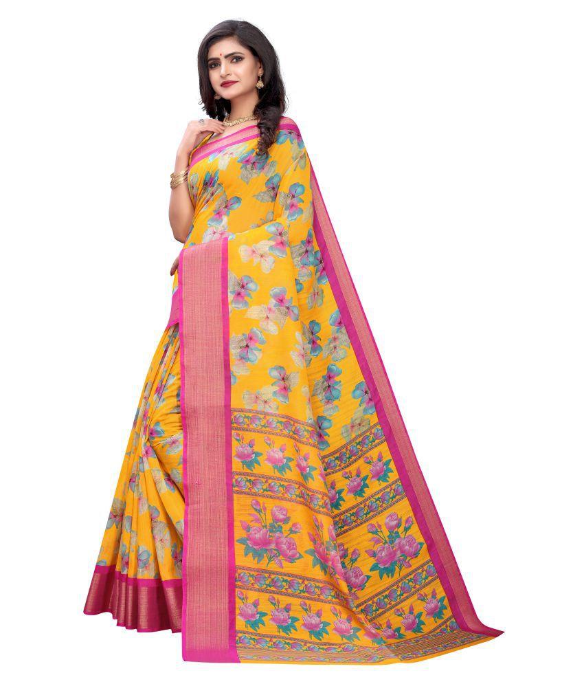 Rajsundari Creation Yellow Cotton Saree