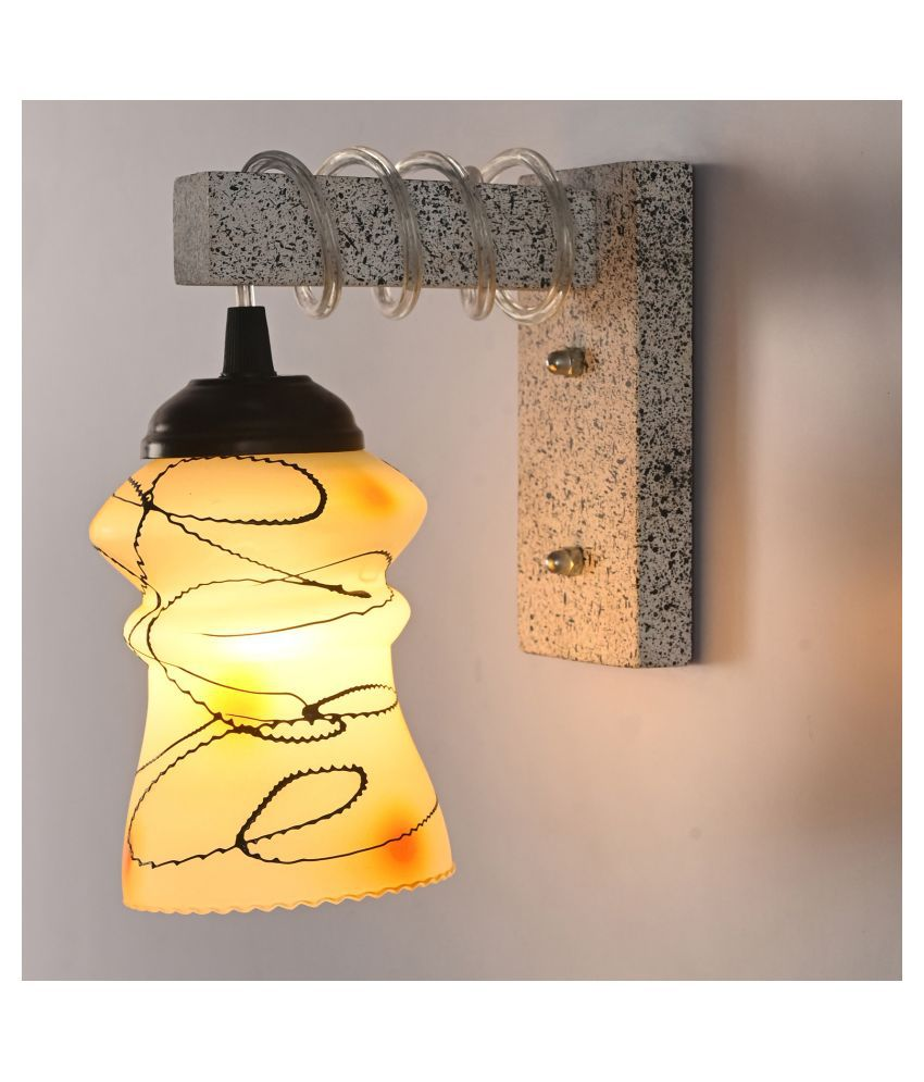 AFAST New Pendant Wood Fitting Shade Glass Wall Light Yellow - Pack of 1