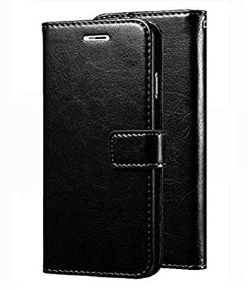 Xiaomi Redmi 5A Flip Cover by Kosher Traders   Black Original Vintage Look Leather Wallet Case