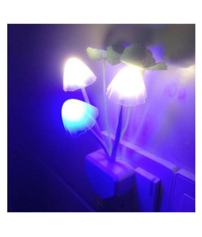 Gbuzz SMART FANCY MUSHROOM Changing Night Light/Lamp with Sensor (Glows only in Dark) Night Lamp Multi Night Lamp Assorted - Pack of 1