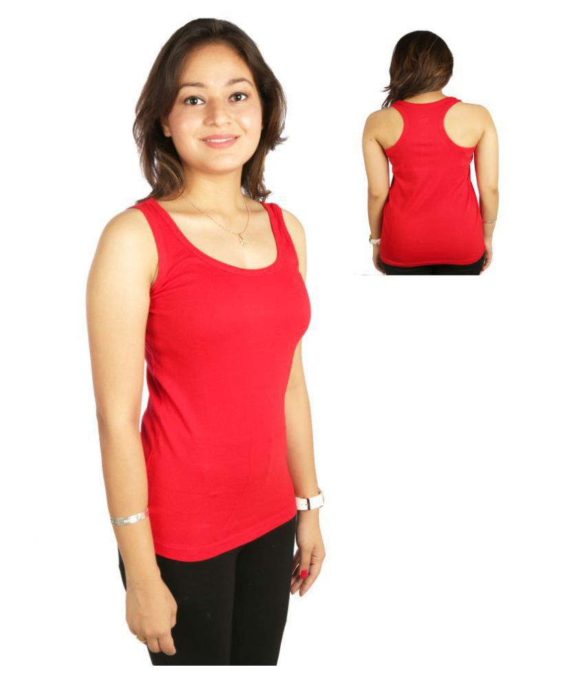 White Moon Cotton Lycra Camisoles - Red