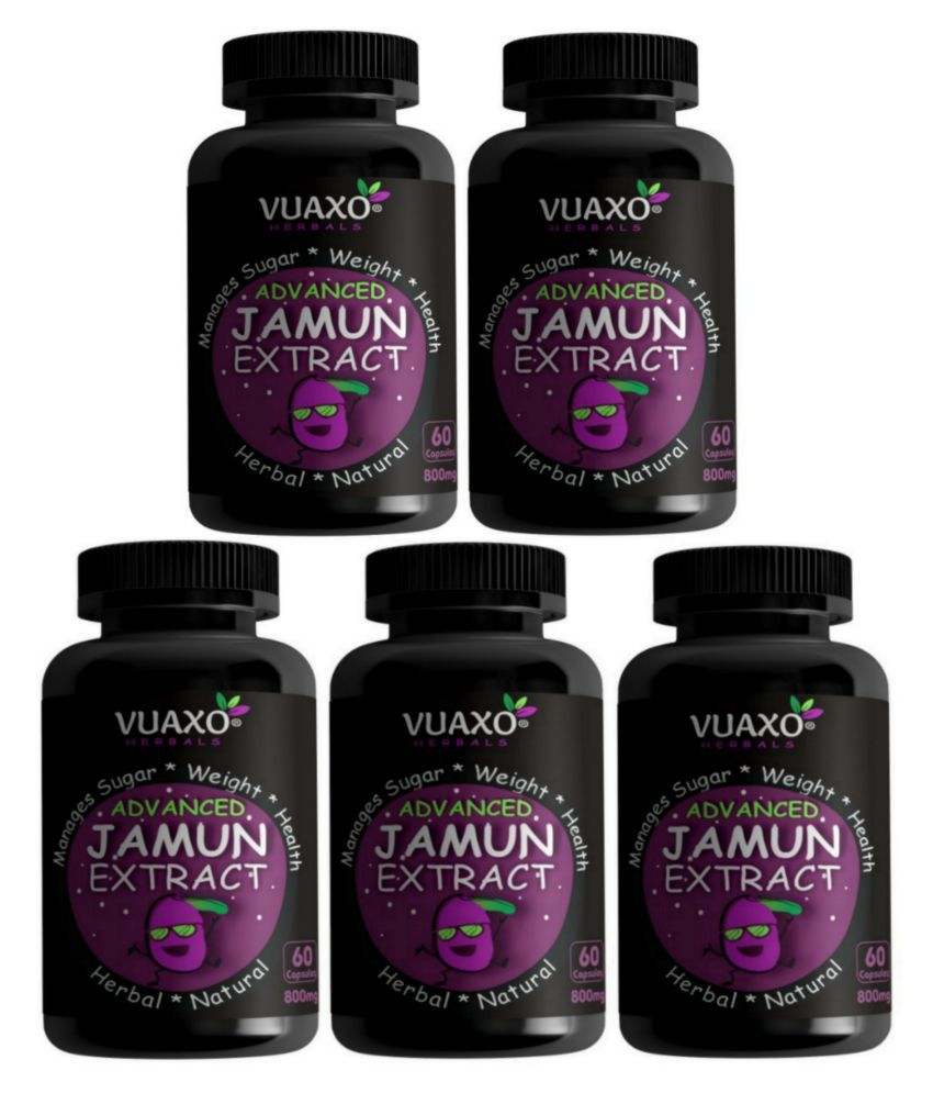 vuaxo Advanced Jamun Extract Sugar Control Diabetes Care Capsule 300 no.s Pack of 5