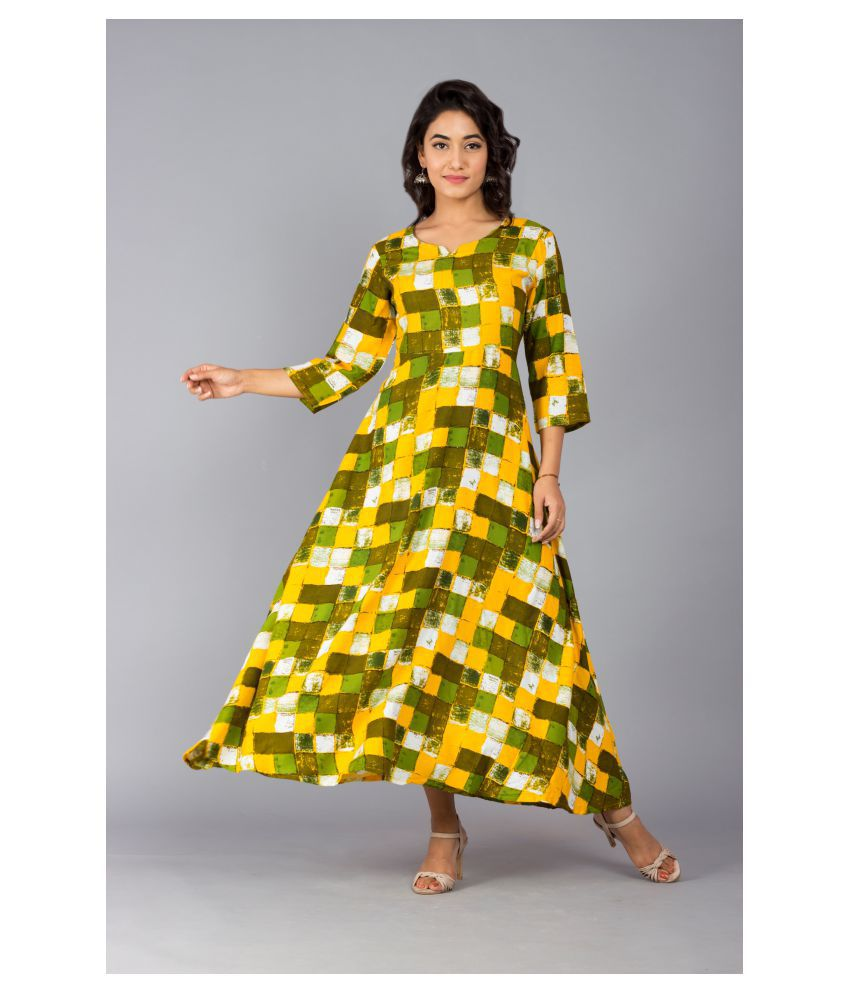 Frionkandy Rayon Yellow A- line Dress