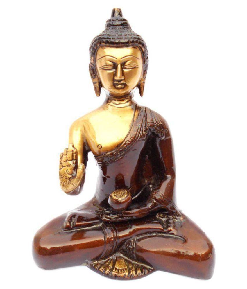 Susajjit Decor Religious Brass Buddha Idol 17 x 8 cms Pack of 1