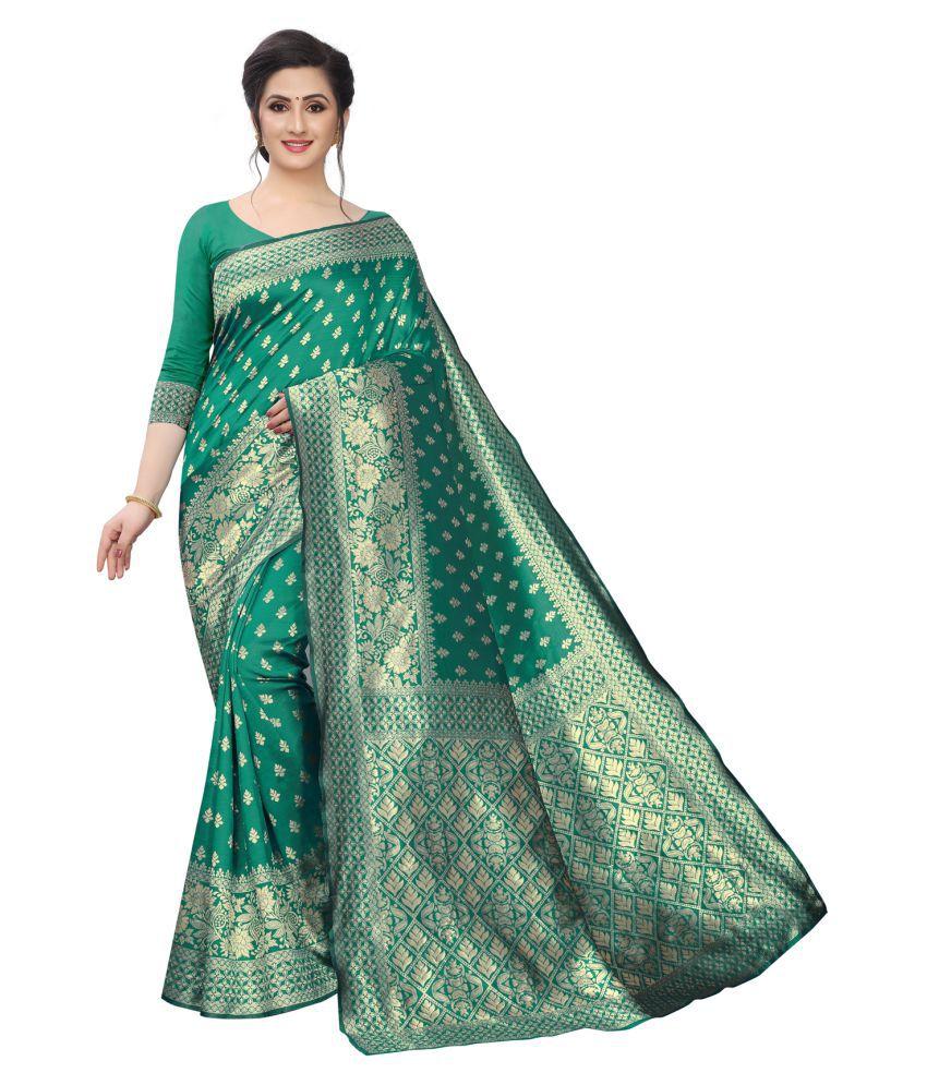 ofline selection Green Jacquard Saree