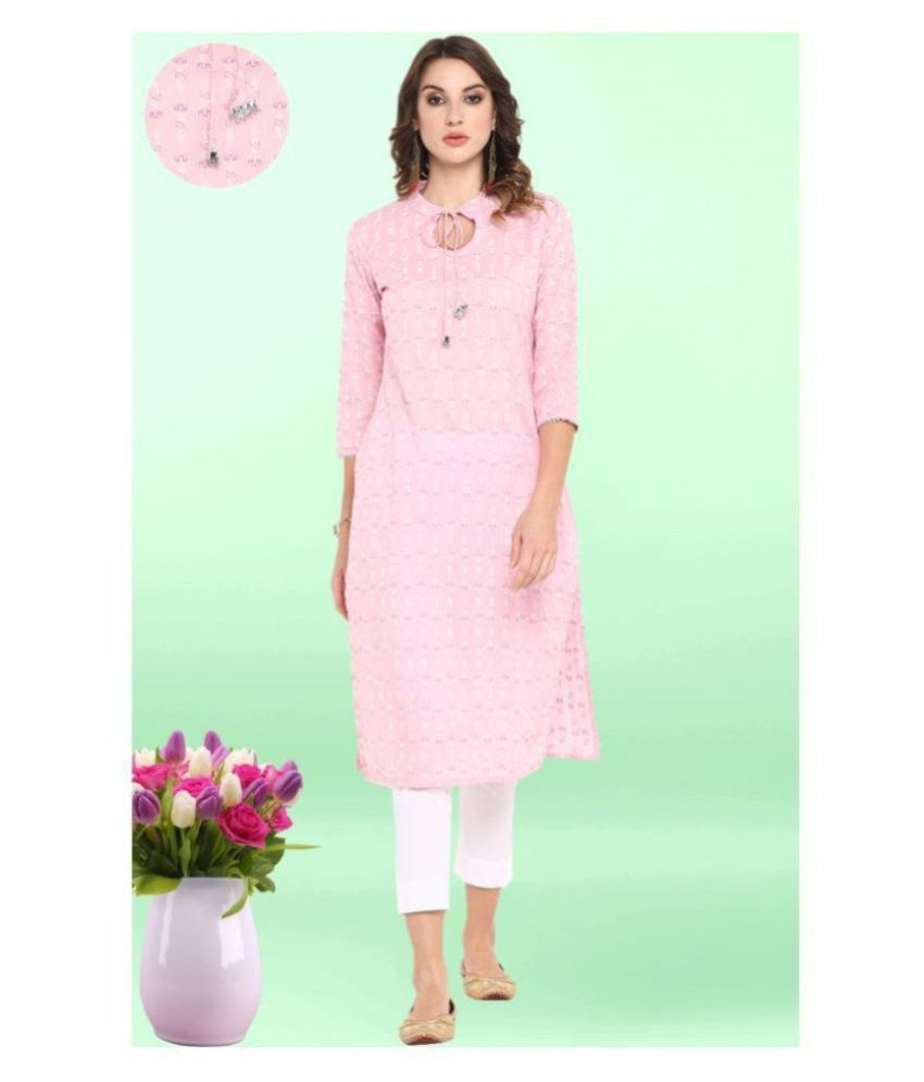Janasya Pink Cotton Straight Kurti