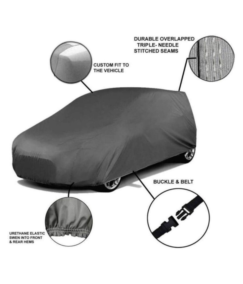 Soami Grey Matty Dust Proof Car Body Cover for Tata Indica with Out Mirror Pockets Triple Stitching & Light Weight (Grey Color) Model 2019-20