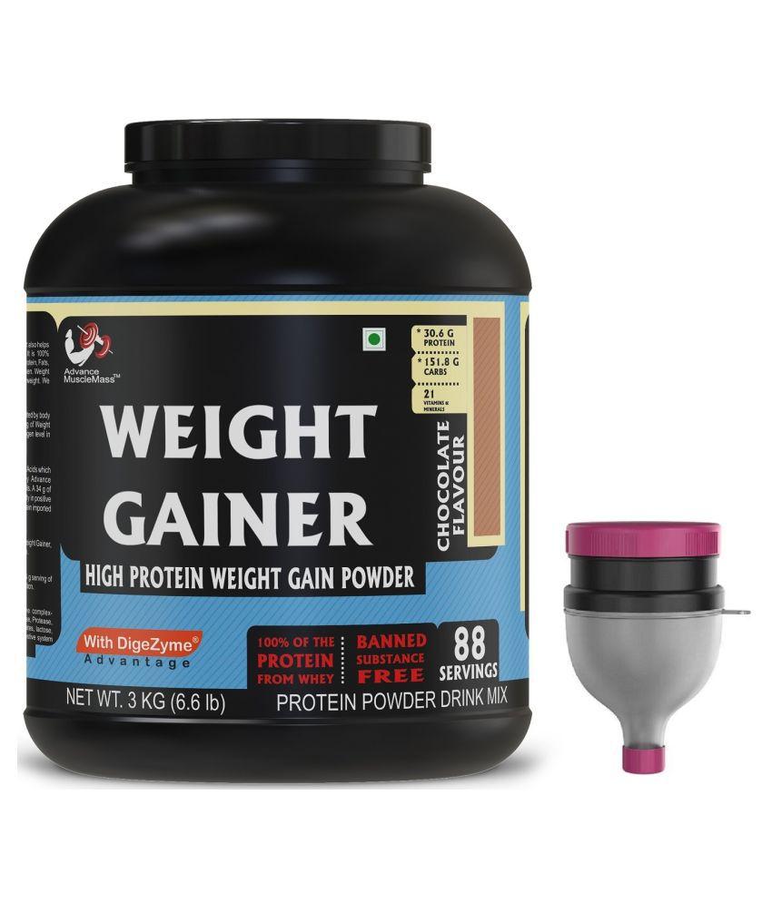 Strava AdvanceMuscleMass Weight Gainer Digestive Enzyme Blend with  Funnel 3 kg Weight Gainer Powder