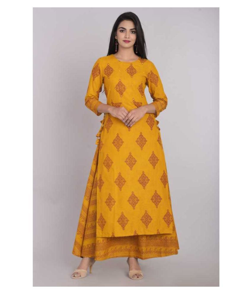 Kbz Yellow Cotton Blend A-line Kurti
