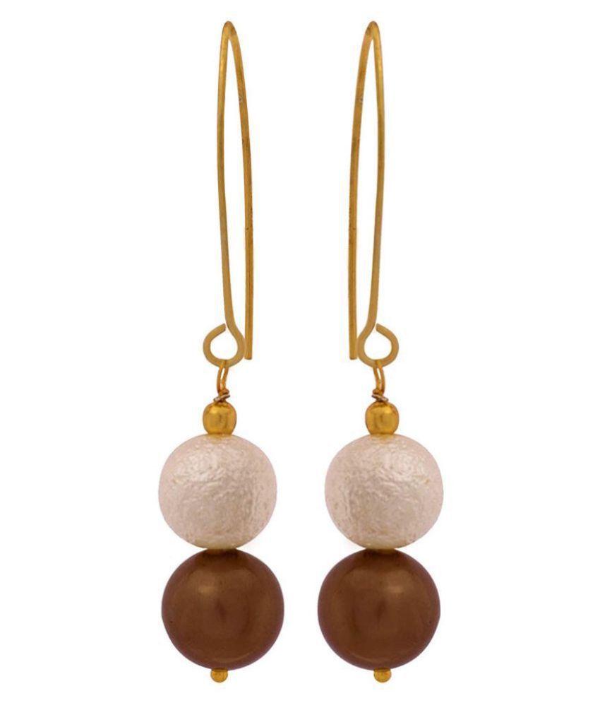 One Gram Gold Plated Designer Matt Pearl Metallic Brown Pearl Earring for Women & Girls