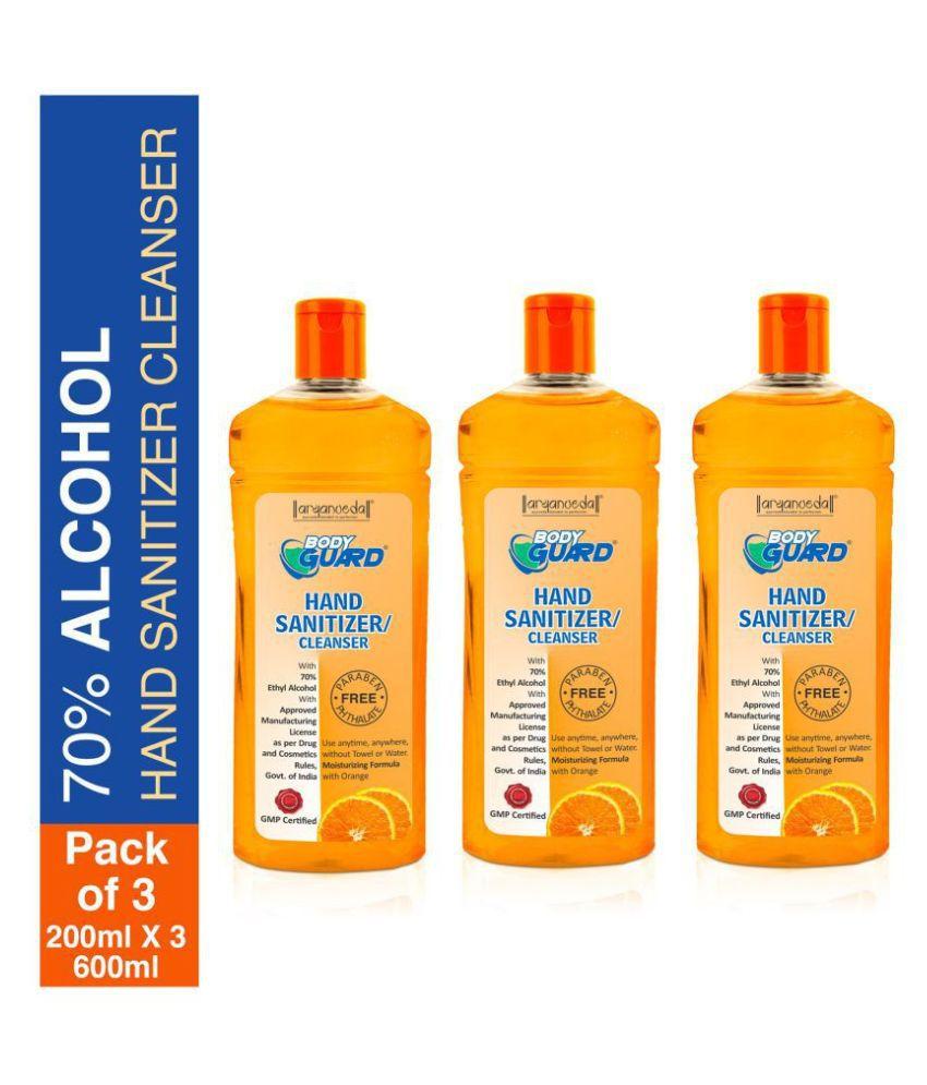 Aryanveda Bodyguard Orange Fragrance Hand Sanitizer 200 mL Pack of 3